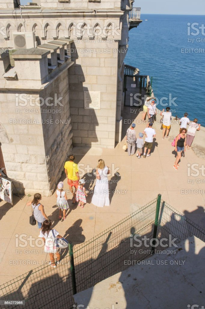 People near the castle walls. royalty-free stock photo