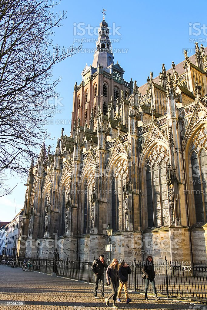People near the cathedral in   city of Den Bosch. Netherlan stock photo