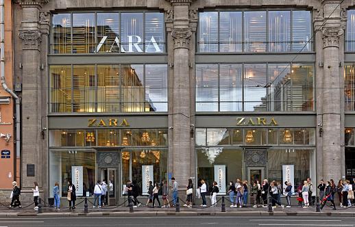 People near Zara Store on The Nevsky Avenue. St Petersburg. Russia