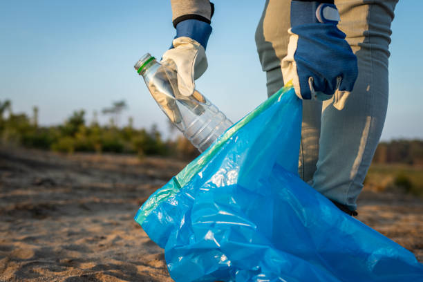 People needs to take responsibility! Plastic pollution. stock photo