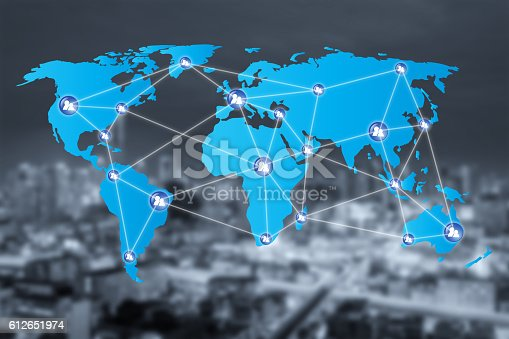 656082444 istock photo People network connection icons with World map connection 612651974