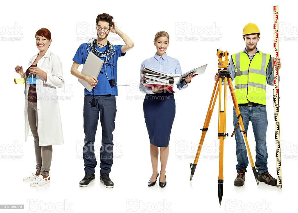 People occupation Collection of people occupation: laboratory, it programmer, accountant and surveyor over white background. Adult Stock Photo