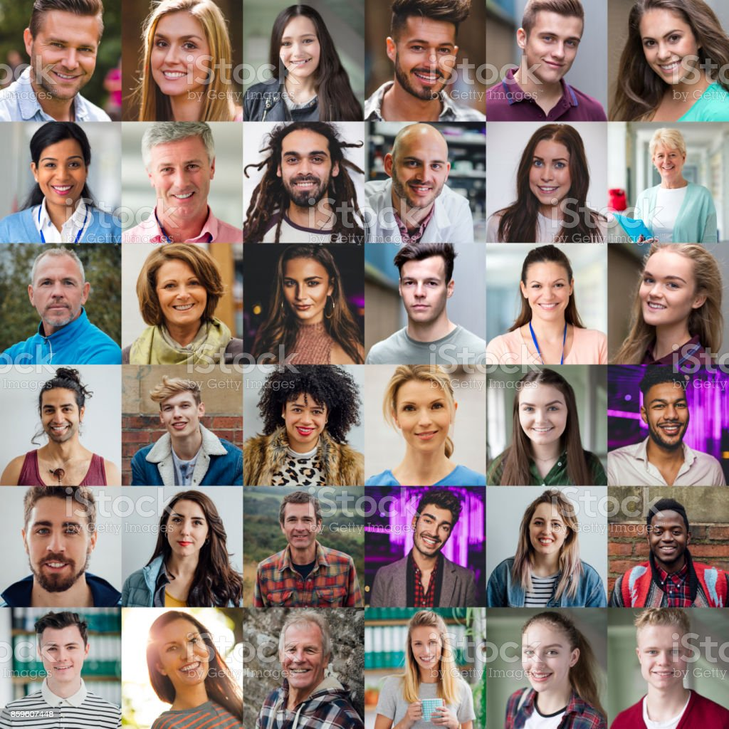 Grid view of 36 portraits of people of all ages and ethnicities.