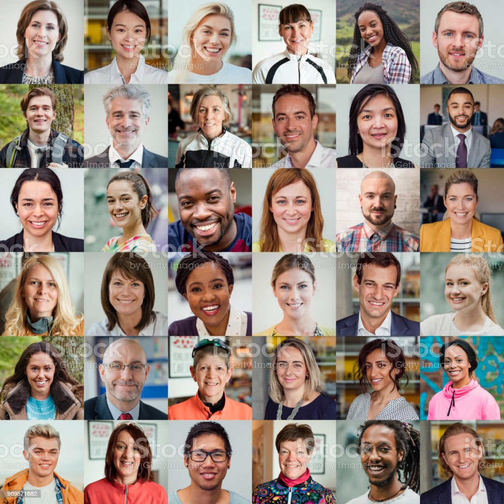 36 headshots of people of all ages, ethnicities and genders.