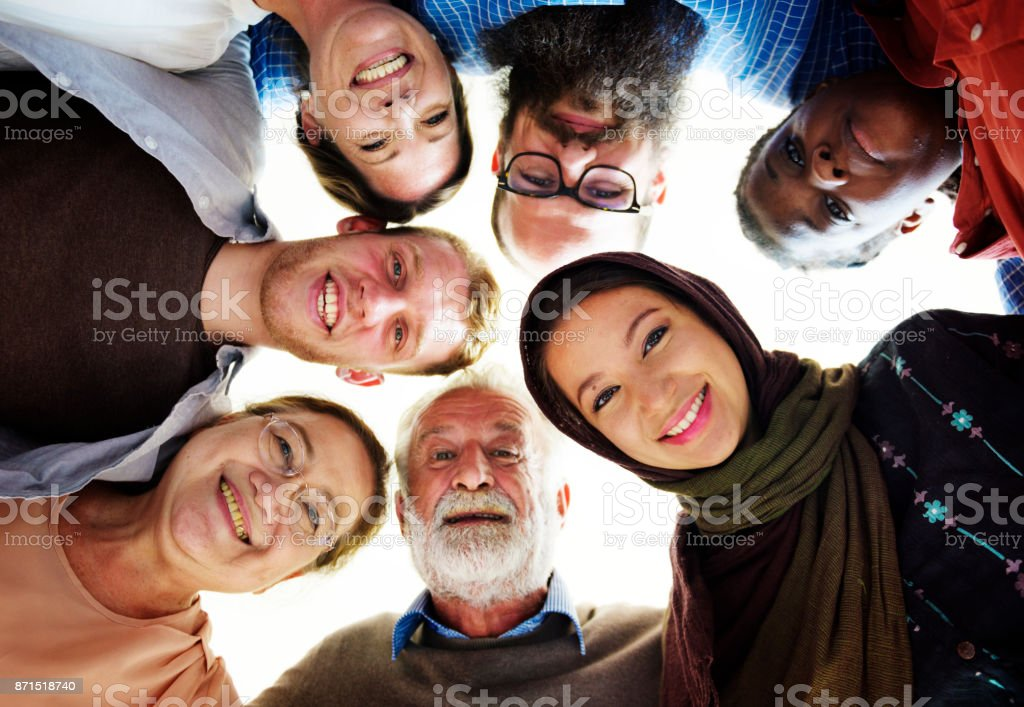 People of different ages and nationalities having fun together stock photo