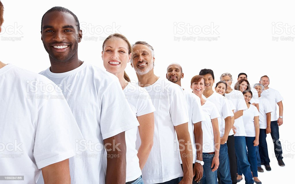 People of different generations standing in row royalty-free stock photo