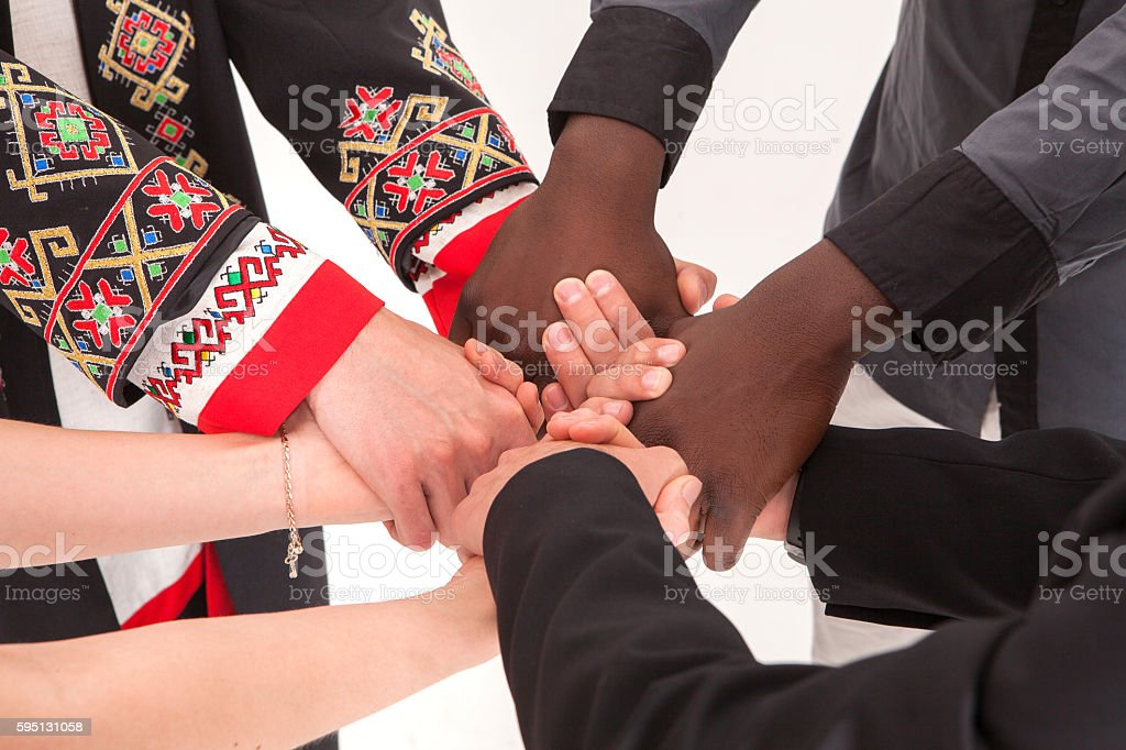 People of different nationalities. friendship, communication, teamwork, education, recruitment. stock photo