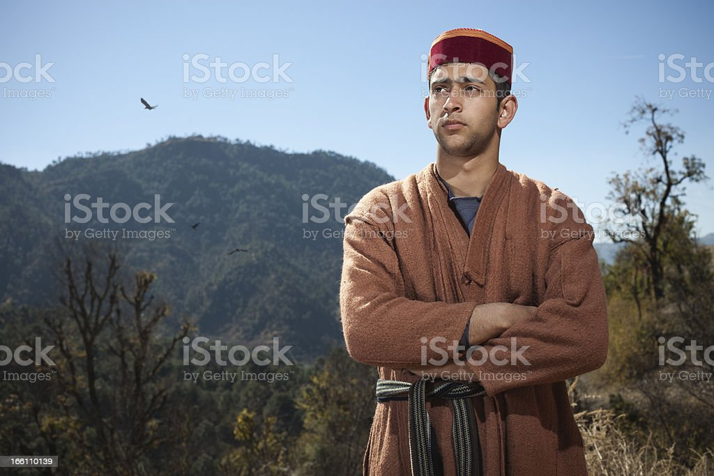People of Himachal Pradesh: Confident young man looking away stock photo