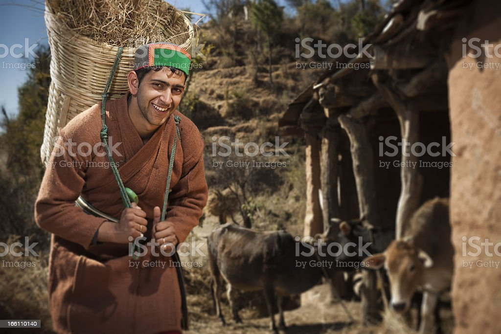 People of Himachal Pradesh: Happy young farmer at work stock photo
