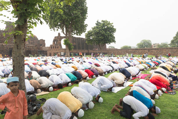 People of Muslim community celebrate Id-Ul-Fitr at New Delhi, India stock photo