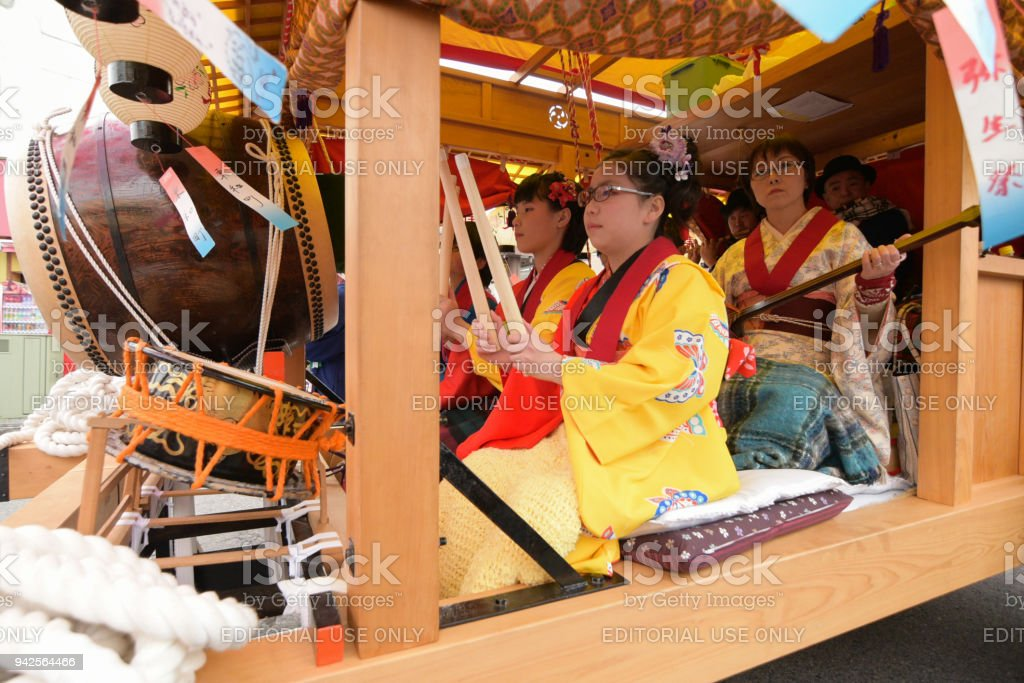 People of Nikko celebrate Yayoi festival on April 16, 2016 in World-Heritage Futarasan Jinja Shrine,Nikko Japan.It is a traditional event, which started in 767-770 . stock photo