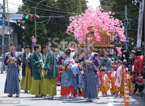 istock People of Nikko celebrate Yayoi festival on April 16, 2016 in World-Heritage Futarasan Jinja Shrine,Nikko Japan.It is a traditional event, which started in 767-770 . 942610980
