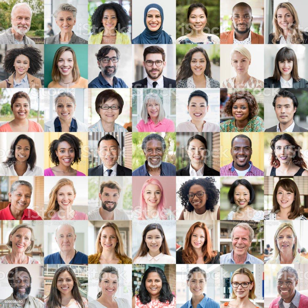 世界人民肖像-種族多樣性 - 免版稅20多歲圖庫照片