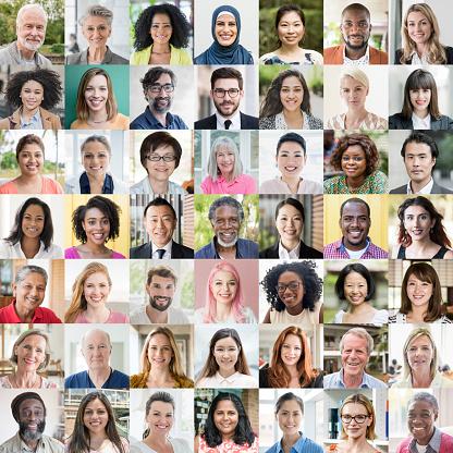 Headshot portrait of multi ethnic people in digital composite montage