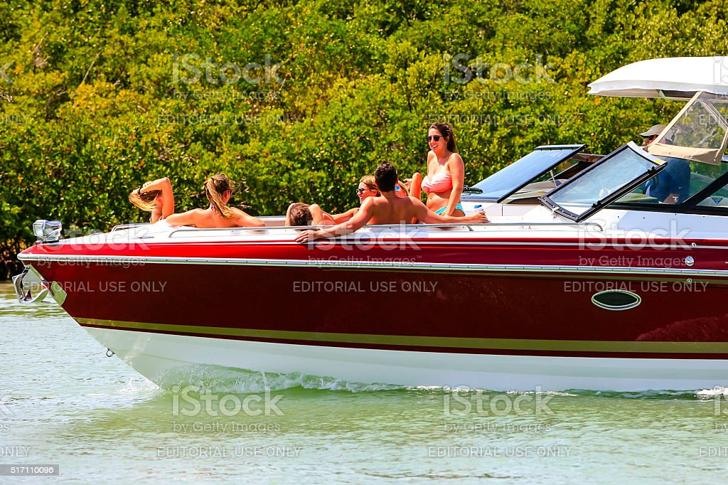 People on a boat around Little Marco Island, Naples, Florida stock photo