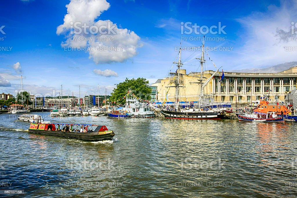 People on a boat tour in Bristol harbor, UK stock photo
