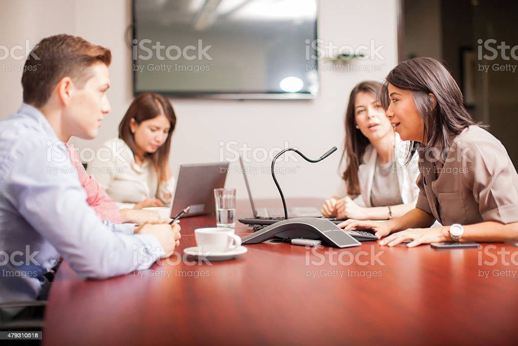 People on a conference call stock photo