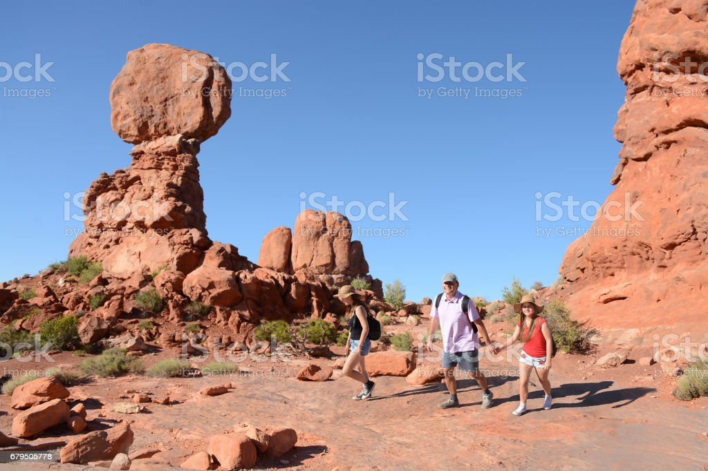 People on a hiking trip in mountains. royalty-free stock photo