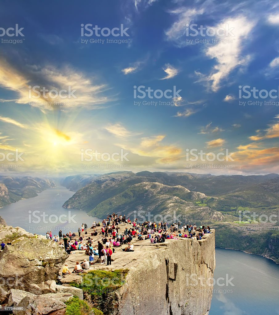 people on a Preachers rock ( Pulpit rock ) stock photo