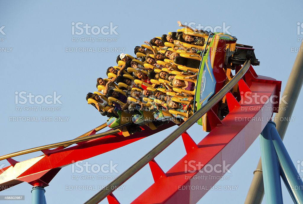 People on a Rollercoaster Ride stock photo