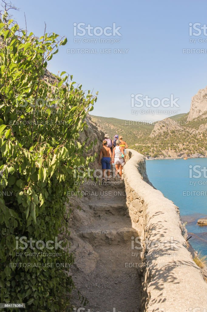People on a stone trail. royalty-free stock photo