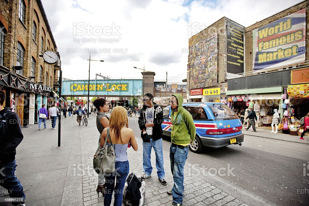 People on a street in Camden Town, London stock photo