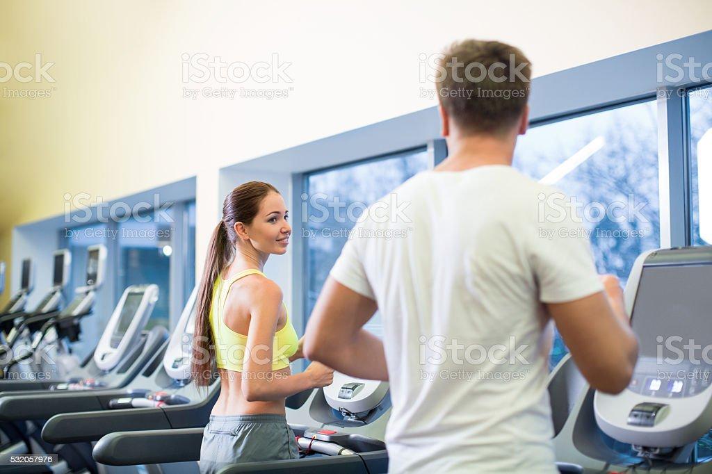 People on a treadmill stock photo