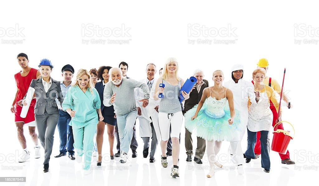 People on a Various Occupations running  together. royalty-free stock photo