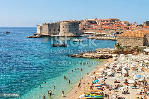 istock People on beach and Dubrovnik fortress in Adriatic Sea 691293534