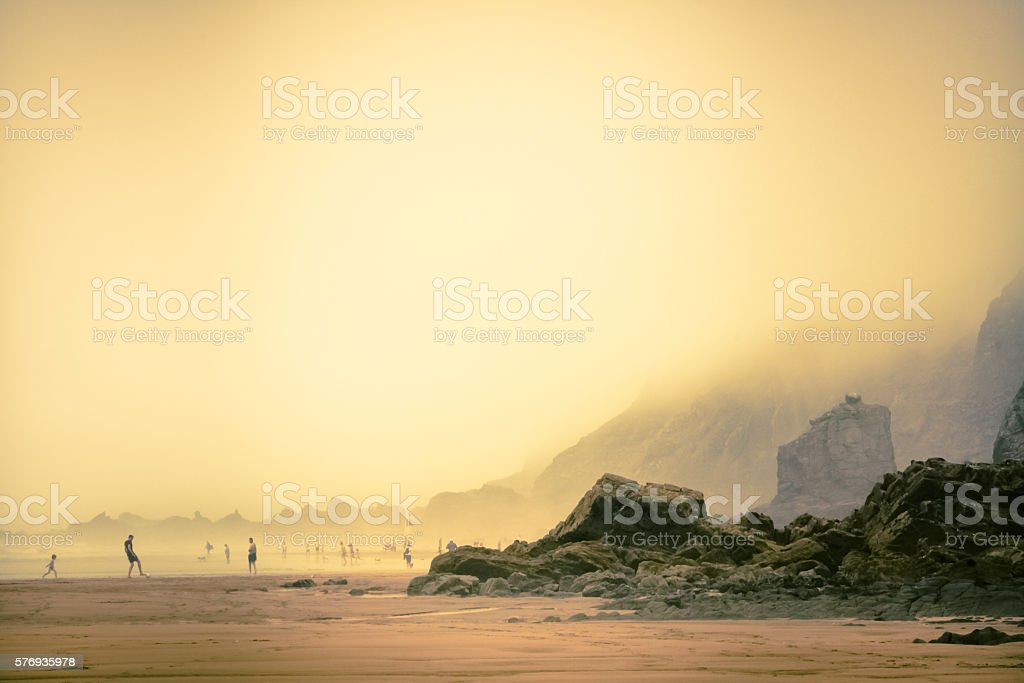 People On Beach At Sandymouth, North Cornwall stock photo