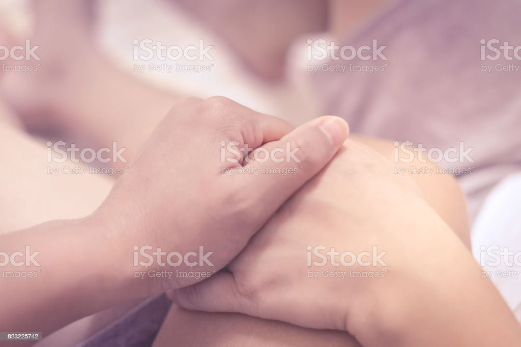 people on bed in love concept. stock photo