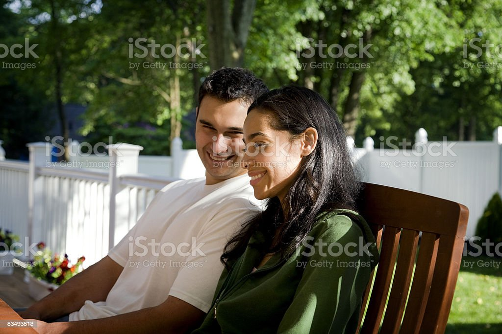 2 people on bench royalty-free stock photo