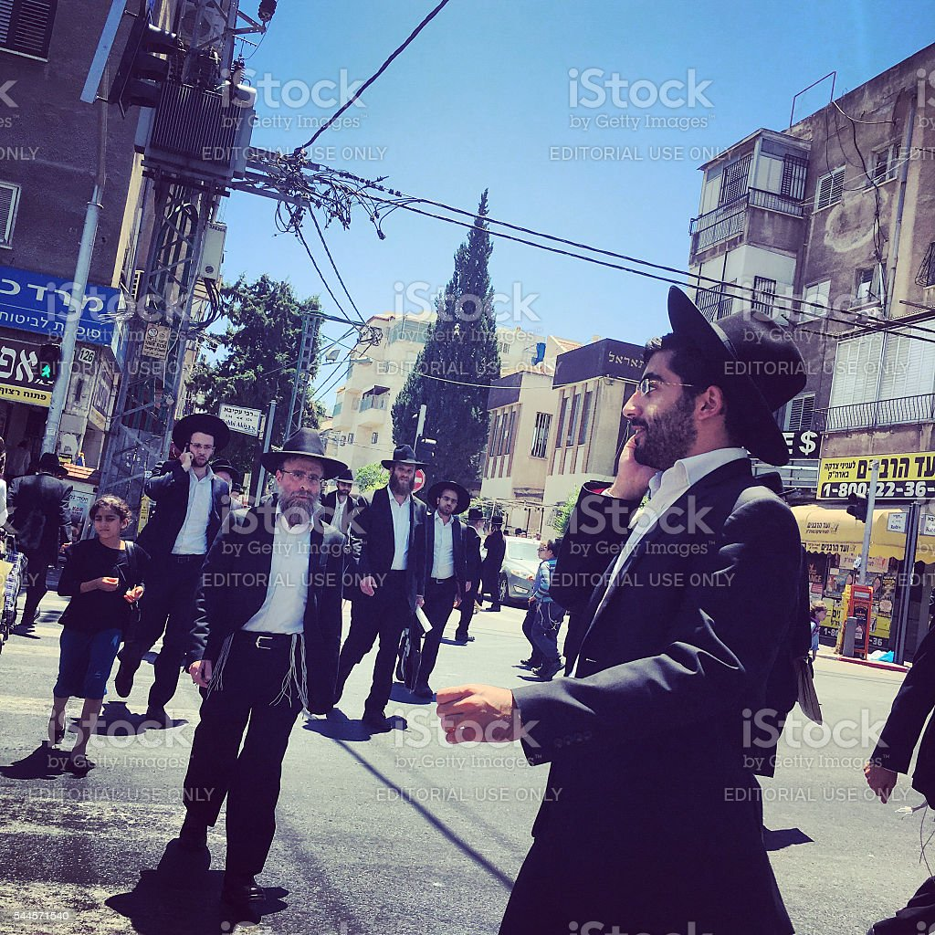People on Bnei Brak streets, Israel stock photo