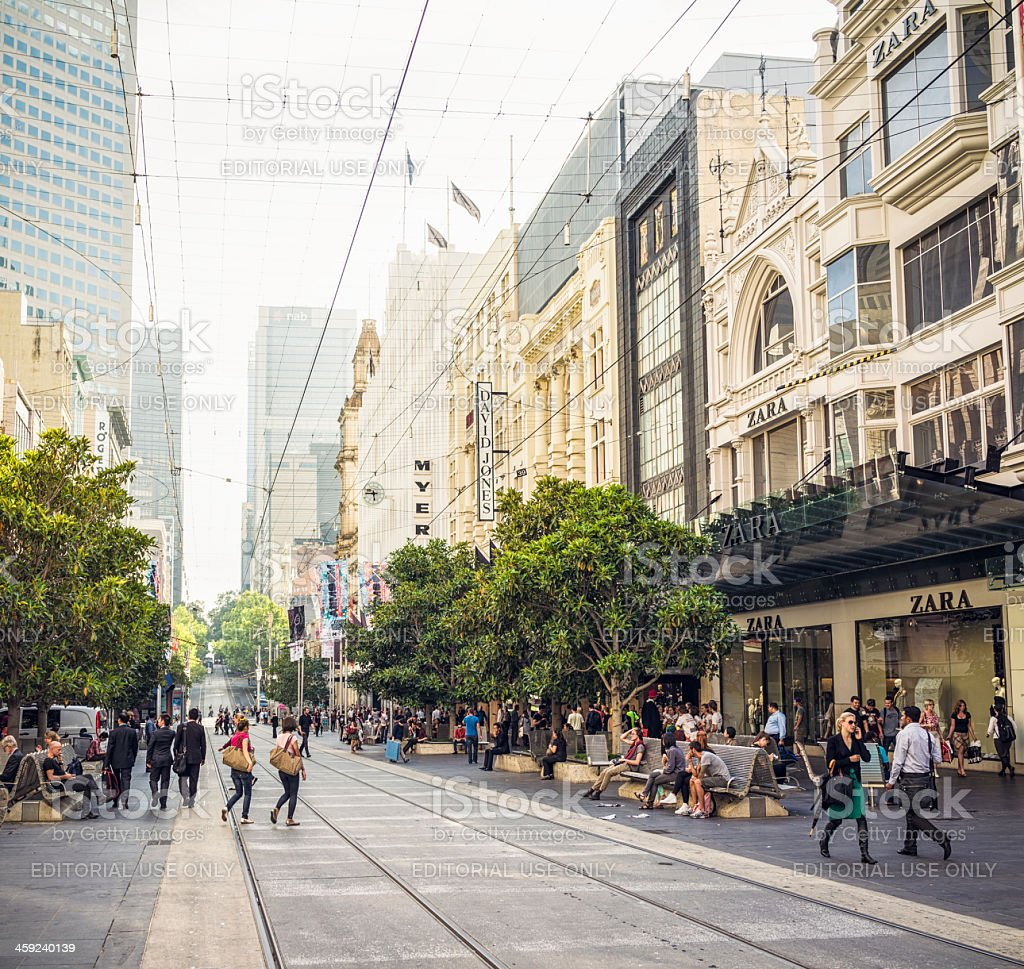 People on Bourke Street in central Melbourne