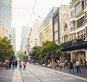 Melbourne, Australia - February 26, 2013: People on Bourke Street in Melbourne's city centre.  Melbourne is the capital of the Australian state of Victoria.