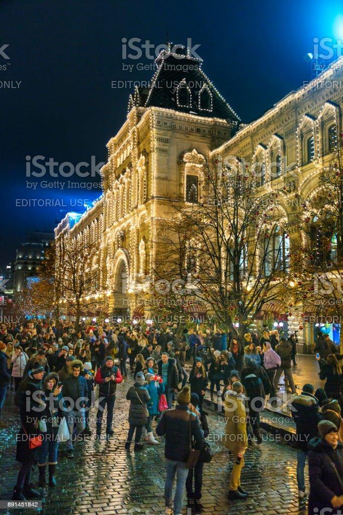 Mensen Op De Kerstmarkt Op Het Rode Plein In De Buurt Van Het