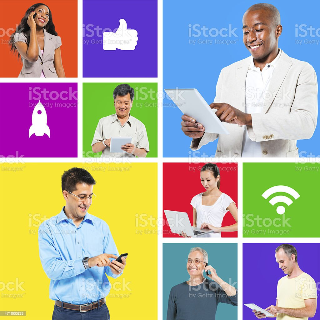 People on digital devices royalty-free stock photo