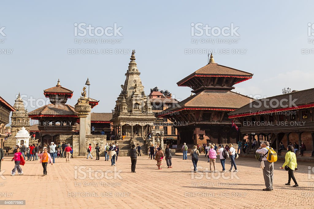 People on Durbar Square in Bhaktapur, Nepal stock photo