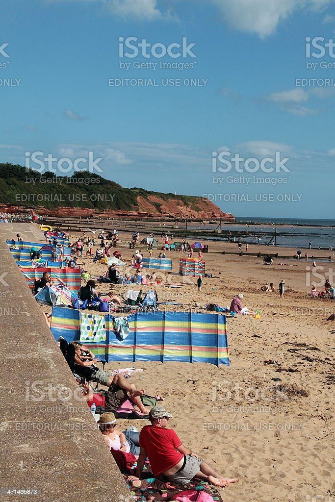 People on Exmouth Beach royalty-free stock photo