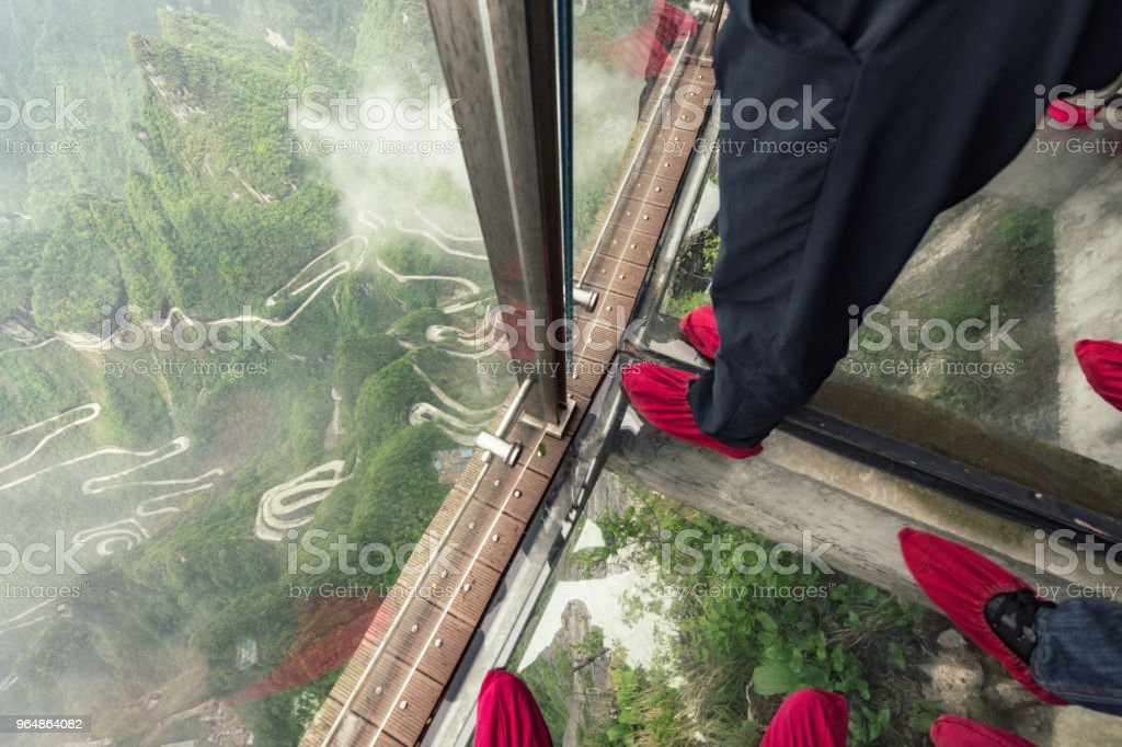 people on glass walk at tianmen mountain royalty-free stock photo