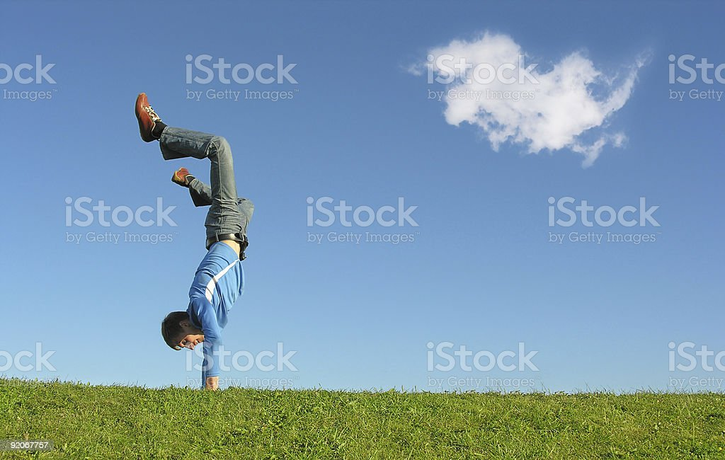 people on hands and cloud royalty-free stock photo