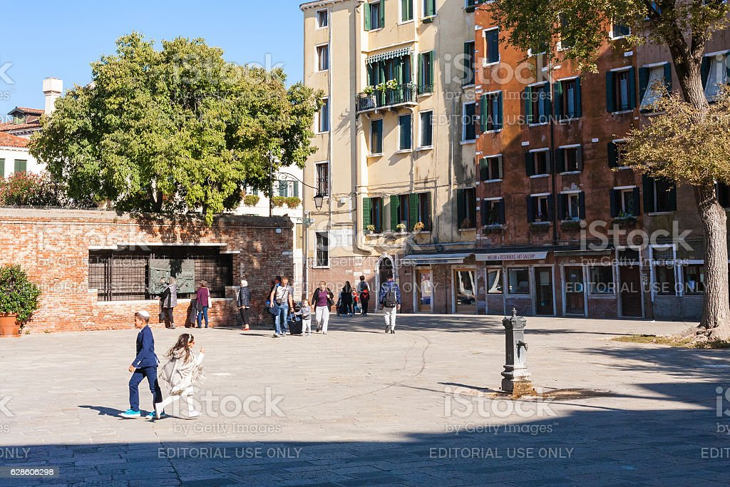people on main square The Venetian Ghetto stock photo