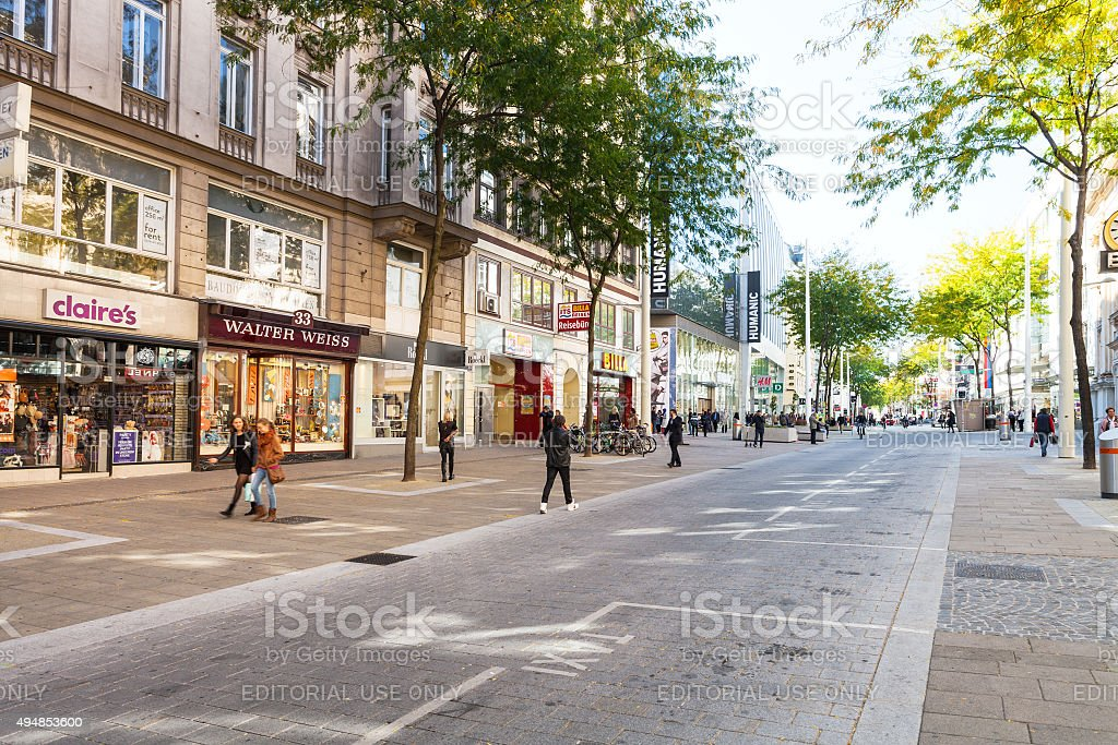People On Mariahilferstrasse Street In Vienna Stock Photo More