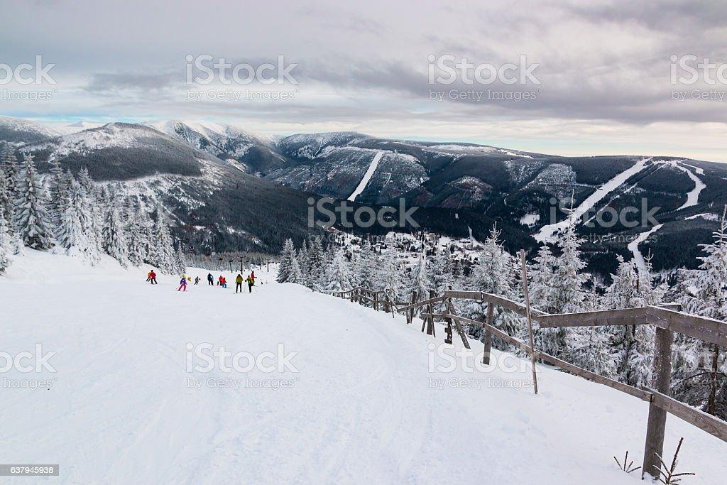 People on mountain in Czech ski resort Spindleruv Mlyn stock photo