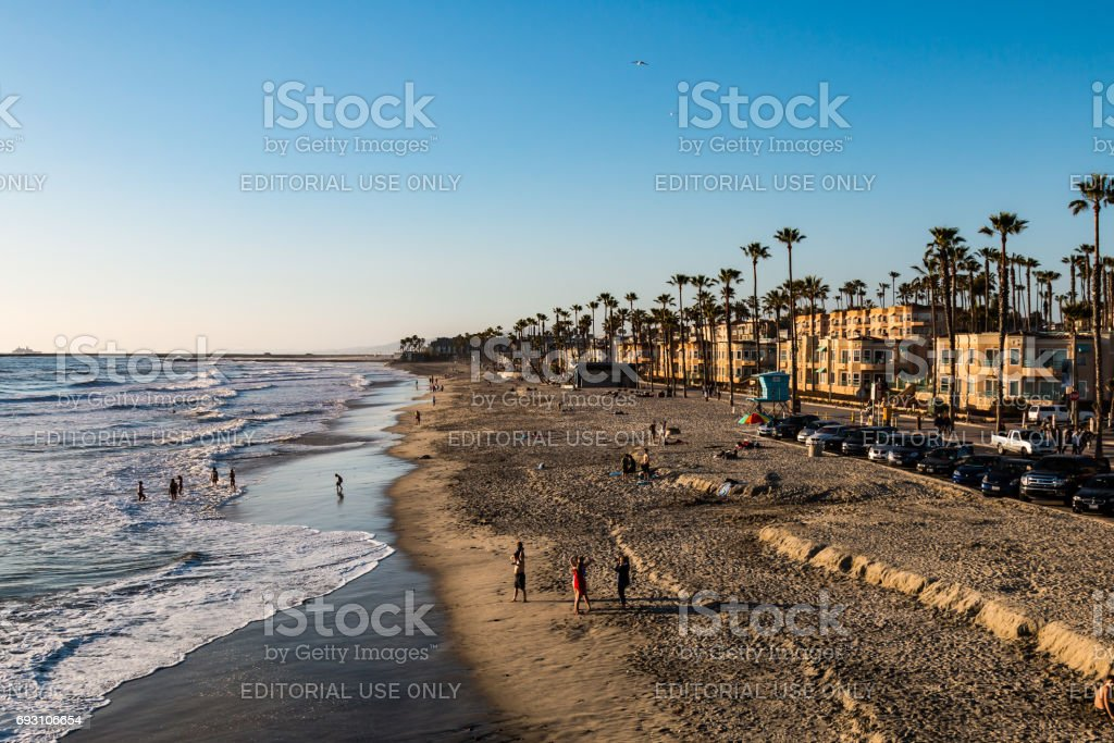 People on Oceanside Beach in San Diego County stock photo