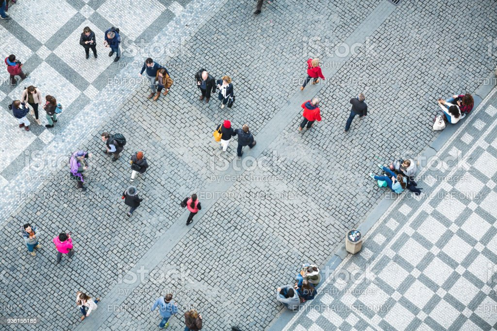 People On Old Town Square In Prague stock photo