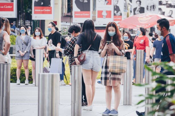People on Orchard Road in Singapore stock photo