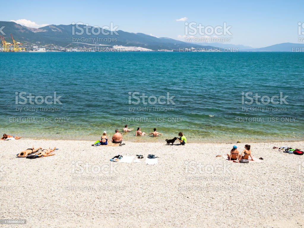 People On Pebble Beach In Novorossiysk City Stock Photo Download Image Now Istock