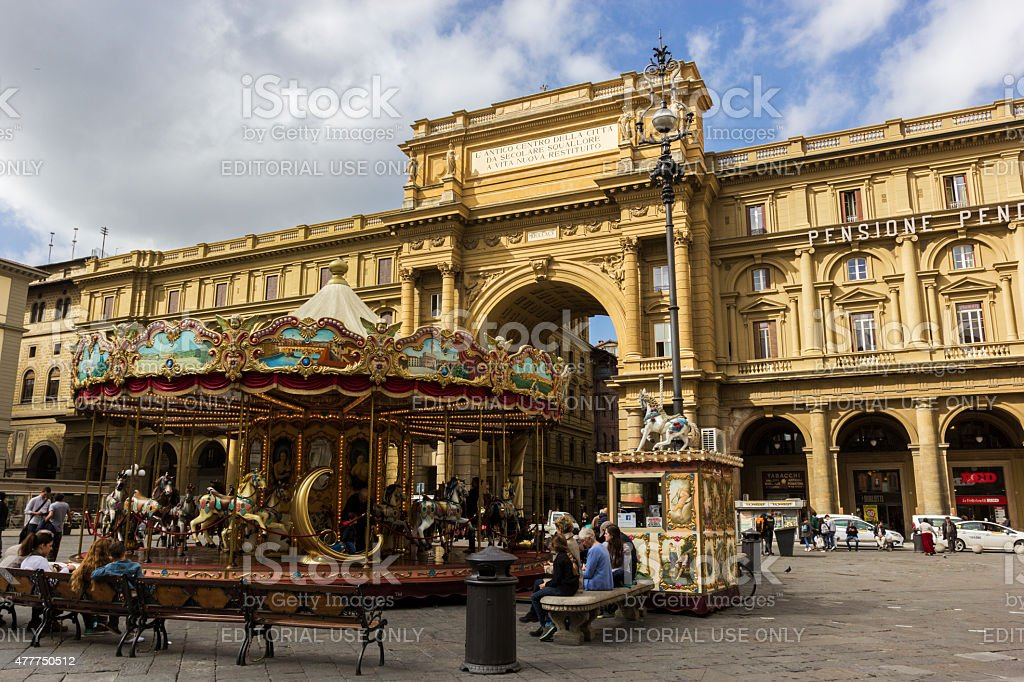 People on Piazza della Repubblica in Florence in Italy stock photo