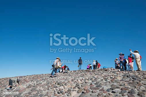 Teotihuacan, Mexico - October 29, 2014: People enjoy the view from atop the Pyramid of the Sun in Teotihuacan, Mexico
